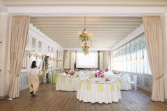 Banquet room. With the served tables stock image