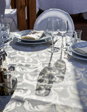 Banquet round table for guests Stock Photography