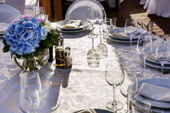 Banquet round table for guests Royalty Free Stock Images