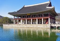 Banquet royal Hall de palais de Gyeongbokgung à Séoul photo stock
