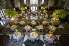 Banquet Set up in Huge Hall. Decorated Tables Ready for a Grand Party or Wedding Stock Photography