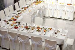 Banquet table Stock Images