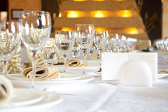 Banquet table. Serving banquet table in a restaurant Royalty Free Stock Photography