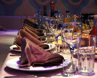 Banquet table. Festive banquet table in restaurant royalty free stock images