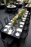 Banquet table. Reception space with tables set for banquet Royalty Free Stock Photography