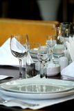 Banquet table. /  Dinner Place Setting Stock Image