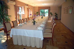 Banquet table. Table in restaurant prepared for banquet royalty free stock photo