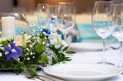 Banquet table. Decorated banquet table for celebrate royalty free stock images