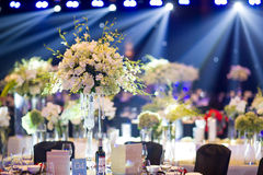 Banquet table. Beautiful spent banquet table decoration Royalty Free Stock Photo