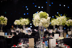 Banquet table. Beautiful spent banquet table decoration royalty free stock image