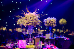 Banquet table. Beautiful spent banquet table decoration royalty free stock images