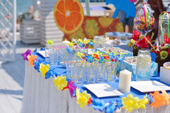 Banquet table with decorations royalty free stock photos