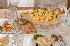 Banquet table with food Royalty Free Stock Image