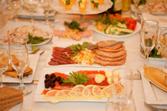 Banquet table with food Royalty Free Stock Photography