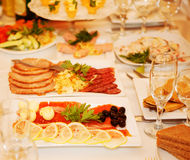 Banquet table with food. In hotel Stock Photo
