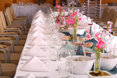 Banquet table and food Stock Photography