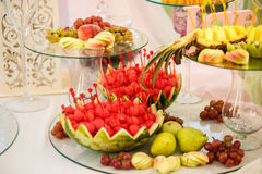 The banquet table with fruits Royalty Free Stock Image