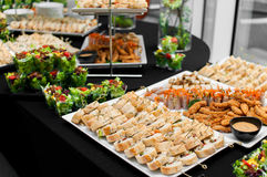 Banquet table. For guests with starters and snacks stock images
