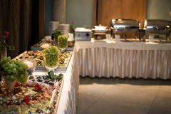 Banquet table. For guests with starters and snacks stock image