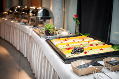 Banquet table. For guests with starters and snacks Royalty Free Stock Photos