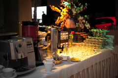 Banquet table with hot drinks Royalty Free Stock Photography