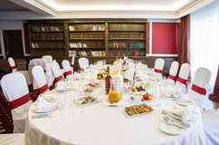 Banquet table. Luxury banquet table in the hotel Stock Photography