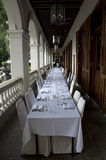 Banquet table old restaurant Royalty Free Stock Image