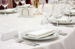 Banquet table in a restaurant Royalty Free Stock Images