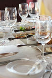 Banquet table in restaurant Stock Images