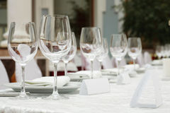 Banquet table in a restaurant Stock Photos