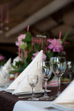 Banquet table in a restaurant Stock Photo
