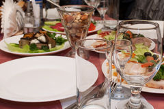 Banquet table. In a restaurant Stock Images