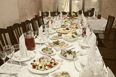Banquet table in a restaurant Royalty Free Stock Image