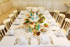 The banquet table in restaurant Stock Photography