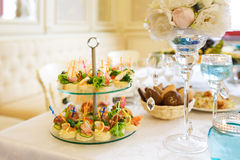 The banquet table in restaurant Royalty Free Stock Photography