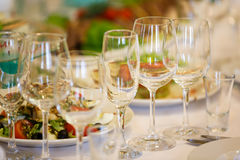 The banquet table in restaurant Royalty Free Stock Photo