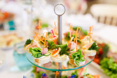 The banquet table in restaurant Royalty Free Stock Images