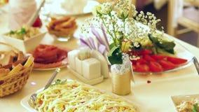 Banquet table in restaurant tilt stock footage