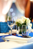 Banquet table set up Royalty Free Stock Photo