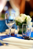 Banquet table set up Stock Images