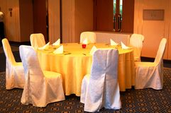 Banquet Table Setting. Round table setting for a function in a hotel ballroom Royalty Free Stock Photo