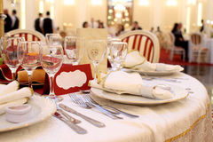 Banquet table setting. With dishes and silverware at wedding royalty free stock photos
