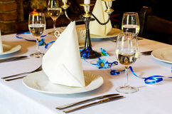 Banquet table setting. Decorative banquet table settings for a party royalty free stock images