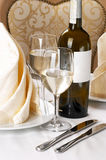 Banquet table setting. Wines, glas Stock Images