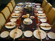 Banquet table setting. A banquet table setting for 11 Royalty Free Stock Images