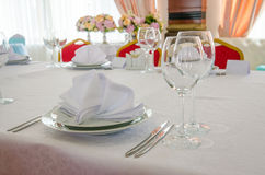 Banquet table setting. Daylight. Table setting for banquet in restaurant Royalty Free Stock Photography