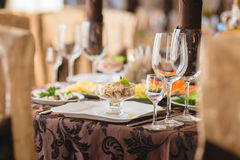 Banquet table setting at restaurant Royalty Free Stock Image
