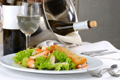 Banquet table setting, Seafood. S, salad Stock Photo