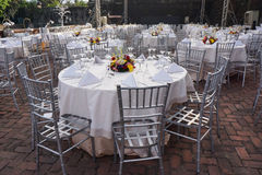 Banquet Table Settings. For outdoor celebration Stock Photography