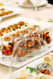 Banquet table with snacks royalty free stock images
